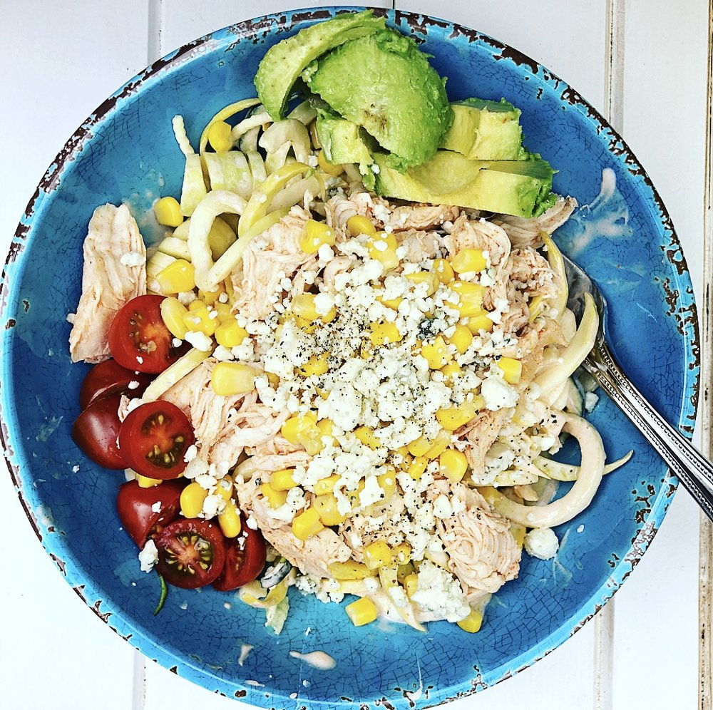 Buffalo Chicken Zoodle Bowls